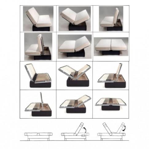 Canapea extensibila 3 locuri Click-Clack Scandi Geometric, cu lada, negru + model geometric, 190 x 90 x 98 cm, 1C
