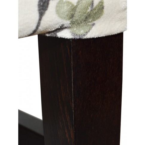 Scaun bucatarie / living fix Milady, tapitat, lemn wenge + stofa cu model floral