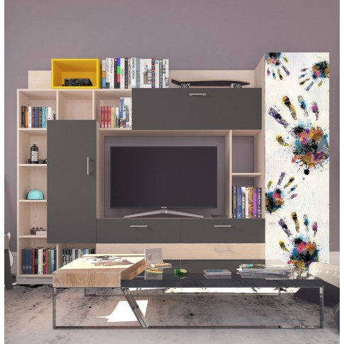 Biblioteca living Urban, stejar pastel + gri + print 39, 260 cm, 5C