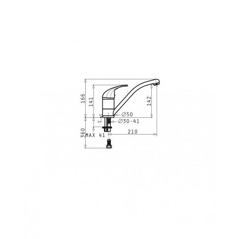 Baterie bucatarie, Pyramis Modo 095191101, stativa, monocomanda, alama, finisaj cromat, satinat