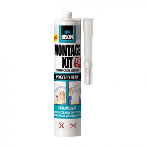 Adeziv pentru placi si profile decorative din polistiren, interior / exterior, Bison Montage Kit, alb, 470 gr