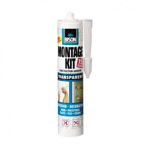 Adeziv pentru suprafete multiple, flexibil, interior / exterior, Bison Montage Kit, transparent, 310 ml
