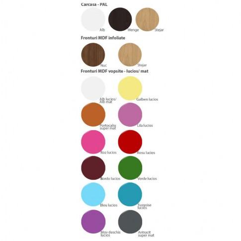 Dulap camera tineret Natalia T4, cu 2 usi + rafturi, diverse culori, 80 x 215 x 35 cm, 1C