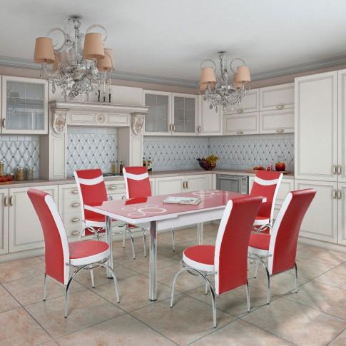 Set masa extensibila cu 6 scaune tapitate Olimpia, bucatarie, rosu + alb, 3C