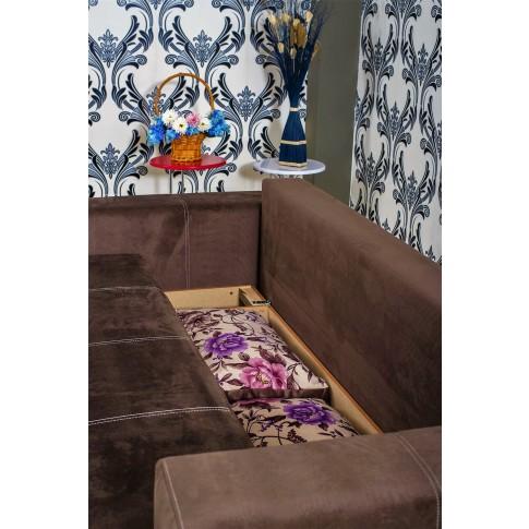 Canapea extensibila 3 locuri Optimus, cu lada, maro, 242 x 100 x 88 cm, 4C