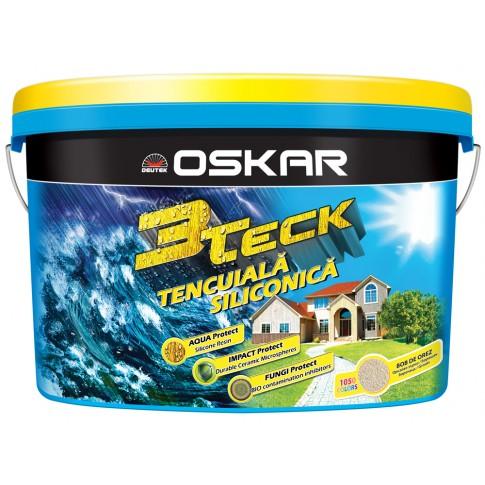 Tencuiala decorativa siliconica Oskar 3Teck, structurata, aspect bob de orez, alb, interior / exterior, 25 kg