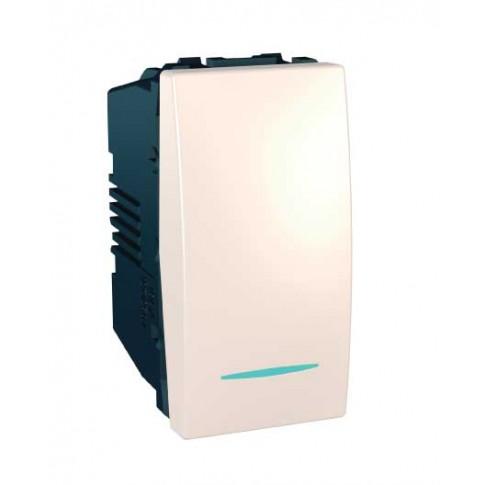 Intrerupator cap scara simplu cu indicator luminos Schneider Electric Unica MGU3.163.25N, incastrat, modular - 1, fildes