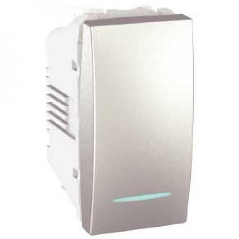 Intrerupator simplu cu indicator luminos Schneider Electric Unica MGU3.101.30N, incastrat, modular - 1, aluminiu