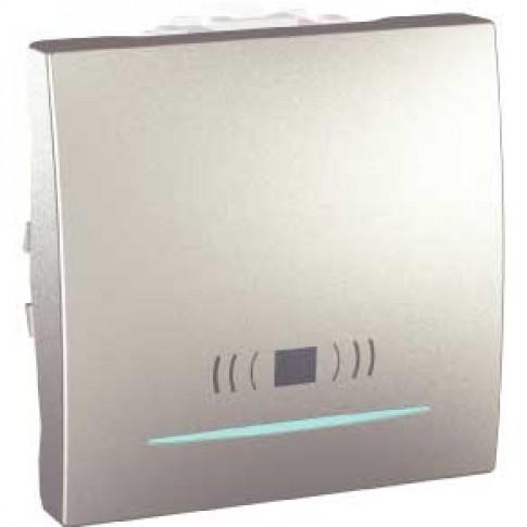 Intrerupator cu revenire si indicator luminos, Schneider Electric Unica MGU3.206.30CN, incastrat, modular - 2, aluminiu