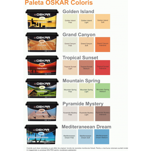 Vopsea lavabila interior, Oskar Coloris Vis mediteranean medium, 5 L