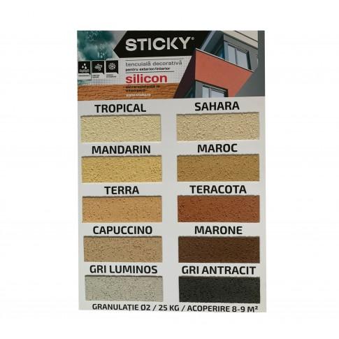Tencuiala decorativa siliconica Sticky, 2 mm, structurata, aspect texturat, terra, interior / exterior, 25 kg
