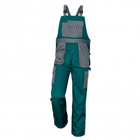 Pantaloni salopeta pentru protectie Asimo, bumbac + poliester, verde, marimea 54
