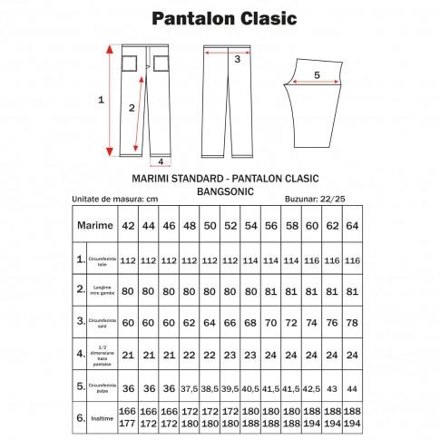 Pantalon Clasic, bumbac + poliester, gri, marimea 54