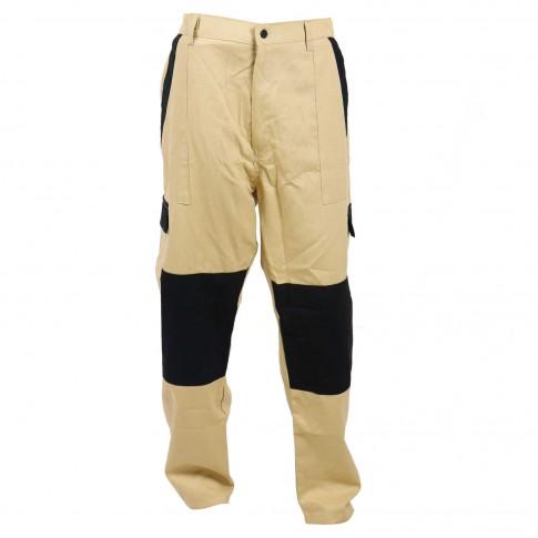 Pantaloni pentru protectie Athos, bumbac, bej-negru, marimea 50