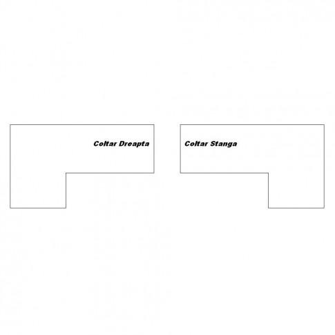 Coltar living extensibil pe dreapta Soleto, cu lada, crem + model vintage bej, 260 x 155 x 81 cm, 4C