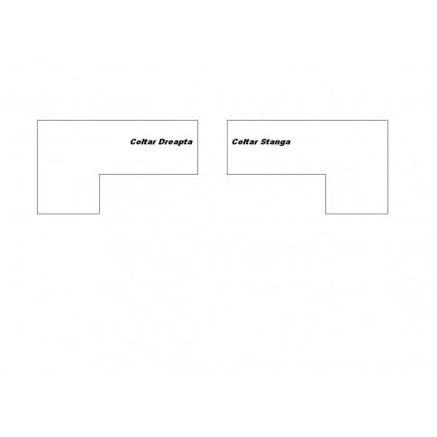 Coltar living extensibil pe stanga Octavia, cu lada, negru + gri, 250 x 175 x 90 cm, 3C
