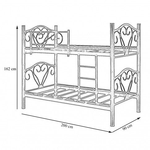 Pat dormitor Rivals, dublu, supraetajat, bordo, 90 x 200 cm, 2C
