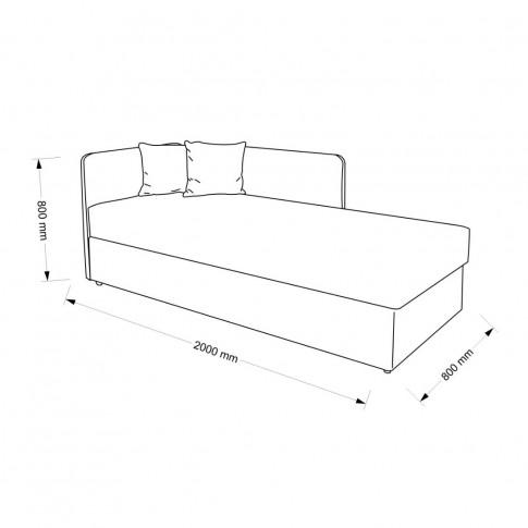 Pat dormitor Sole, o persoana, tapitat, pe dreapta, cu lada, gri inchis + negru, 80 x 200 cm, 2C