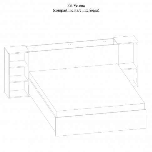 Pat dormitor Verona, matrimonial, cu lada, sherwood + maro, 160 x 200 cm, 5C