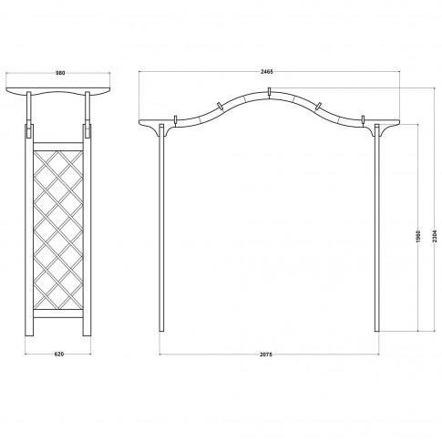 Pergola din lemn, suport flori, 246 x 98 x 235 cm