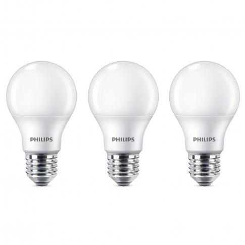 Bec LED Philips clasic A60M E27 9W 806lm lumina neutra 4000 K - 3 buc