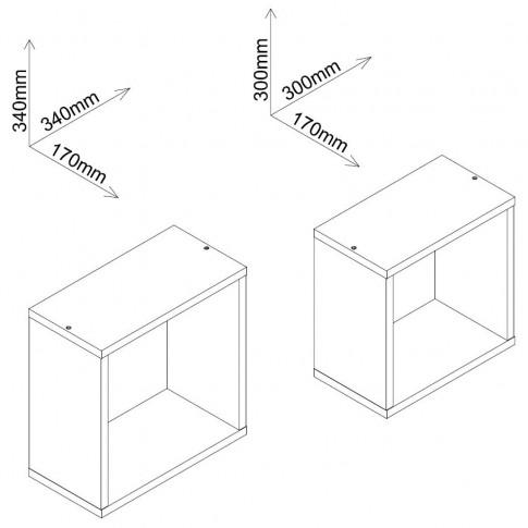 Polita 2, PAL, perete, stejar bardolino, 34 x 17 x 34 cm, 2C