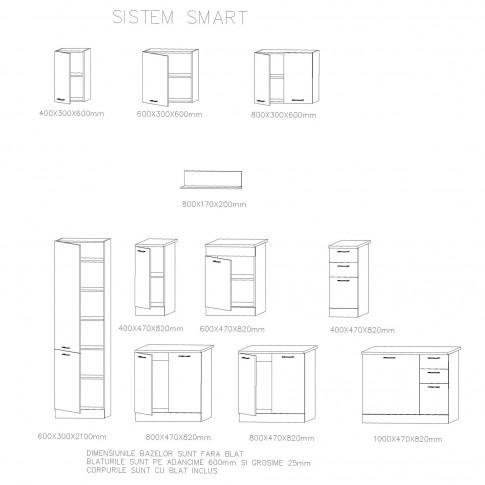 Corp inferior bucatarie Smart 1000, cu blat, stejar A458 + crem mat, 100 x 60 x 85 cm, 3C