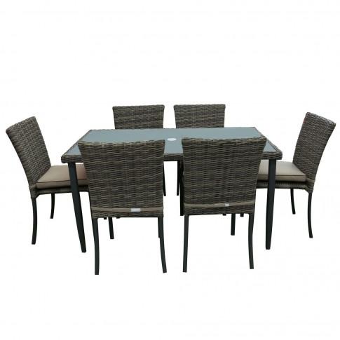 Set masa dreptunghiulara, cu 6 scaune cu perne, pentru gradina Atena, din metal cu ratan sintetic