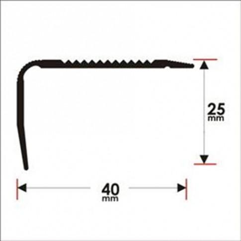 Profil aluminiu pentru treapta, Profiline gri, 40 x 25 mm, 2.7 m