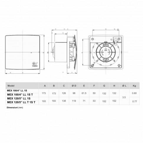 "Ventilator axial cu timer Vortice Punto Evo Flexo Mex 120/5"" LL 1S T, D 120 mm, 13 W, 175 mc/h"