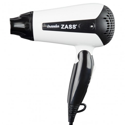 Uscator de par Zass ZHD 01, 1200 W, 2 viteze, 2 setari temperatura, maner pliabil, alb cu negru