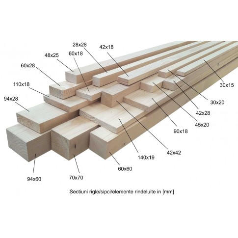 Rigla rindeluita, lemn molid, A/B, 2000 x 48 x 25 mm