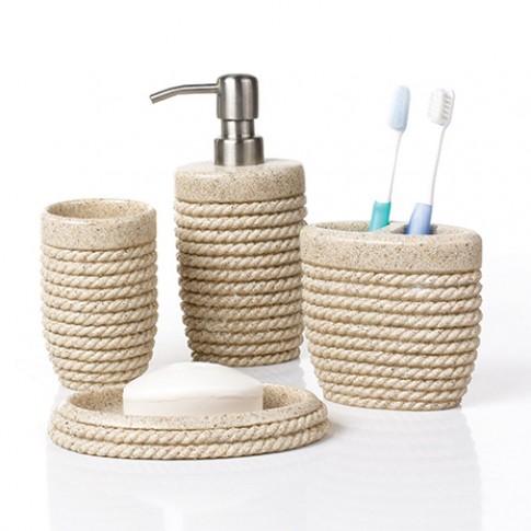 Pahar baie pentru igiena personala, Rope 820060S-5, polistone, bej, 11 x 7 cm