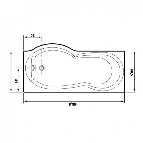 Cada baie cu hidromasaj rectangulara, Rugiada, masca inclusa, acril, montaj dreapta, 170 x 70 cm