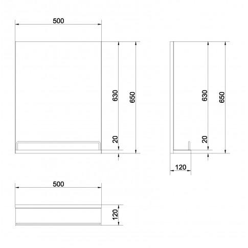 Oglinda baie Cersanit S568-003, 50 x 60 cm, 1 etajera