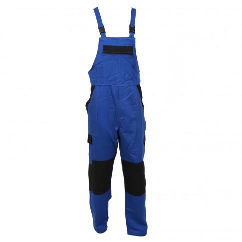 Pantalon salopeta pentru protectie Athos, bumbac, albastru-negru, marimea 56
