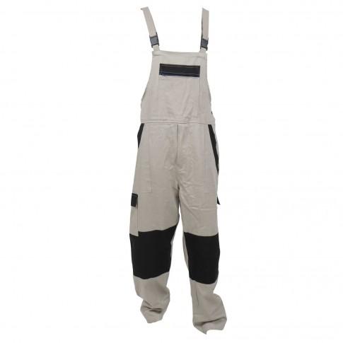 Pantalon salopeta pentru protectie Athos, bumbac, bej-negru, marimea 48