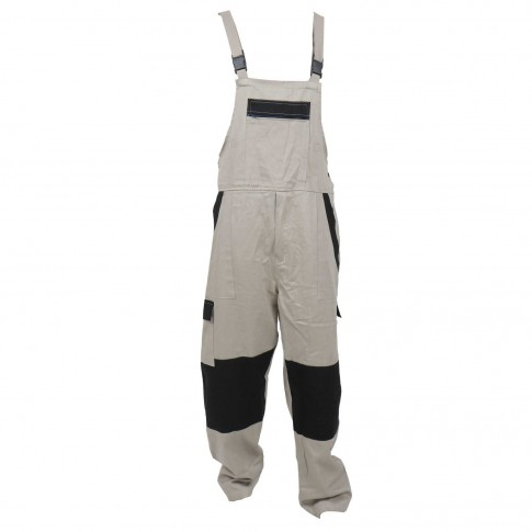 Pantalon salopeta pentru protectie Athos, bumbac, bej-negru, marimea 56