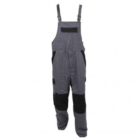 Pantalon salopeta pentru protectie Athos, bumbac, gri-negru, marimea 54