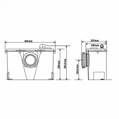 Sanipompa ape uzate SaniSan 2, 400W, pentru toaleta si lavoar, 426 x 268 x 185 mm