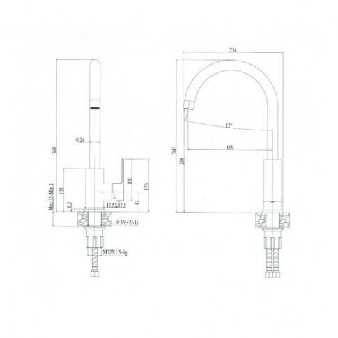Baterie bucatarie, Alveus Santo A 91 2090891, stativa, monocomanda, compozit negru