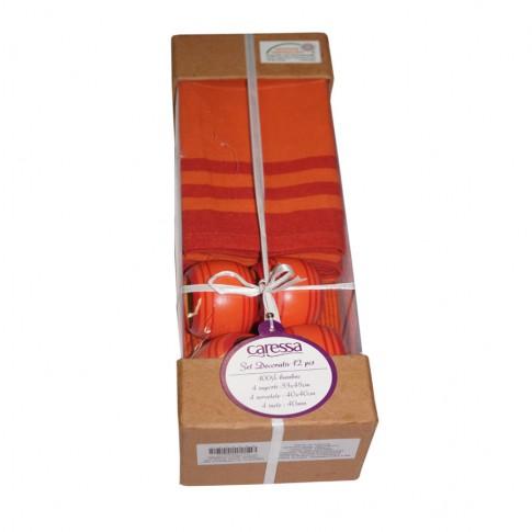 Set decorativ Caressa 3314 SS, 12 piese, bumbac, portocaliu