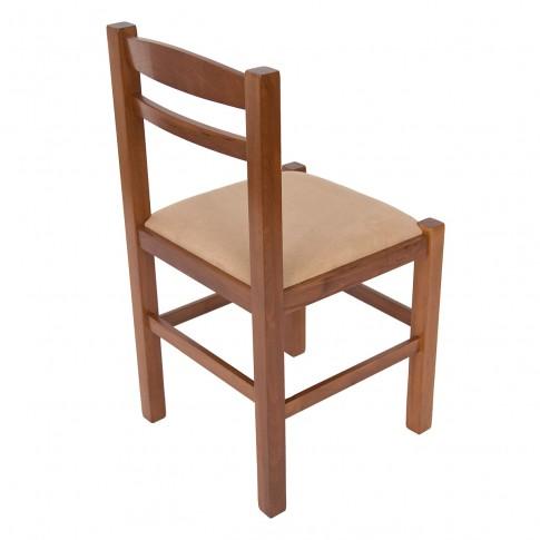 Scaun bucatarie / living fix Pisa, tapitat, lemn nuc + stofa bej