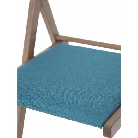 Scaun bucatarie / living pliant Igor, tapitat, lemn maro trufa + stofa albastra