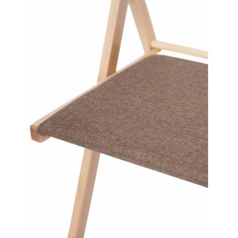 Scaun bucatarie / living pliant Igor, tapitat, lemn natur + stofa maro