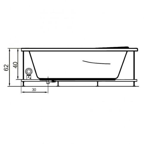 Cada baie asimetrica, pe colt, varianta montaj pe stanga, West Ana, masca si suport incluse, acril, 140 x 90 cm