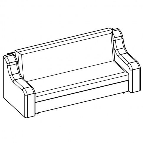 Canapea extensibila 3 locuri Terra II, cu lada, gri + wenge, 214 x 90 x 91 cm, 3C