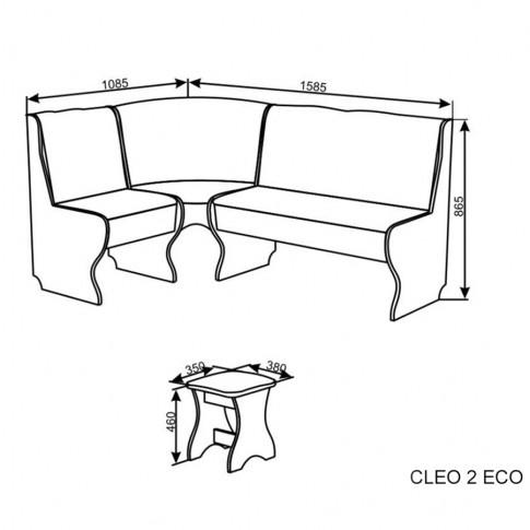 Coltar bucatarie Cleo 2 Eco, cu 2 tabureti, cu lada, maro + stejar bardolino, 158.5 x 108.5 x 86.5 cm 3C