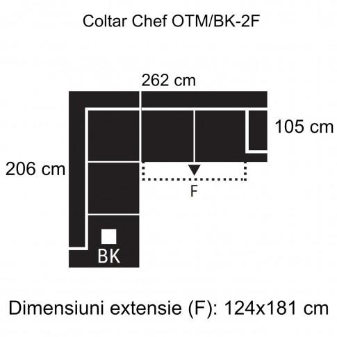 Coltar living extensibil pe dreapta Chef OTM/BK-2F, cu lada, maro, 262 x 206 x 92 cm, 2C