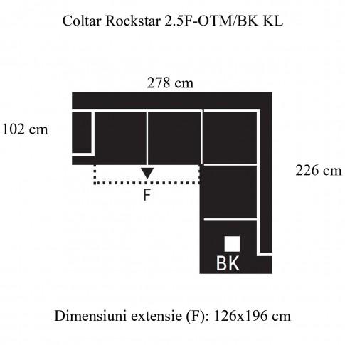 Coltar living extensibil pe stanga Rockstar 2.5F-OTM/BK KL, cu lada, gri, 278 x 226 x 88 cm, 2C